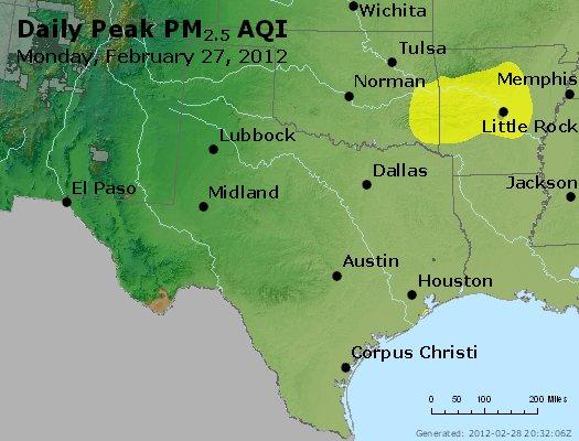 Peak Particles PM<sub>2.5</sub> (24-hour) - http://files.airnowtech.org/airnow/2012/20120227/peak_pm25_tx_ok.jpg