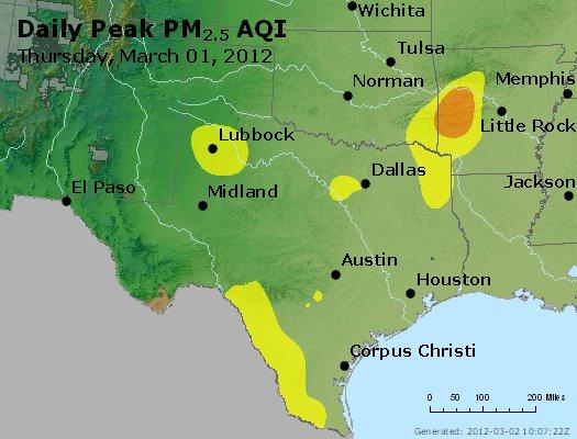 Peak Particles PM<sub>2.5</sub> (24-hour) - http://files.airnowtech.org/airnow/2012/20120301/peak_pm25_tx_ok.jpg