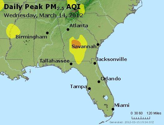 Peak Particles PM<sub>2.5</sub> (24-hour) - http://files.airnowtech.org/airnow/2012/20120314/peak_pm25_al_ga_fl.jpg