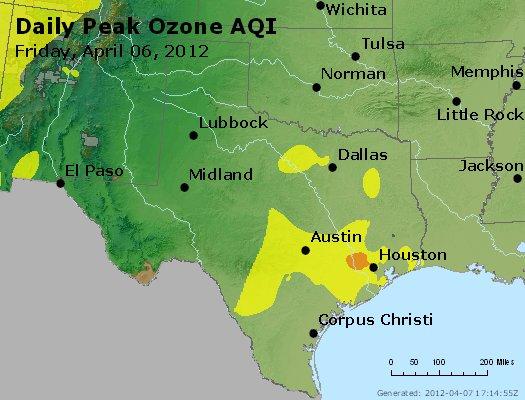 Peak Ozone (8-hour) - http://files.airnowtech.org/airnow/2012/20120406/peak_o3_tx_ok.jpg