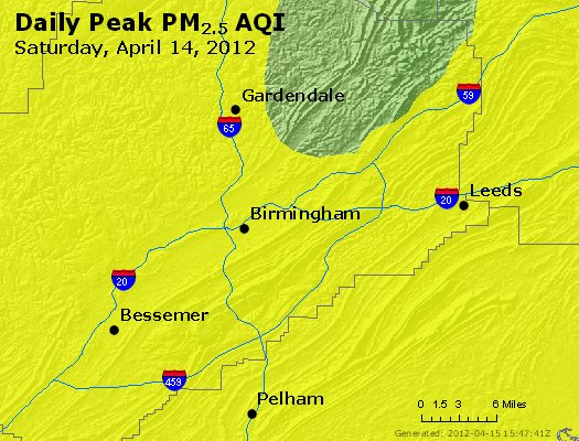 Peak Particles PM<sub>2.5</sub> (24-hour) - http://files.airnowtech.org/airnow/2012/20120414/peak_pm25_birmingham_al.jpg