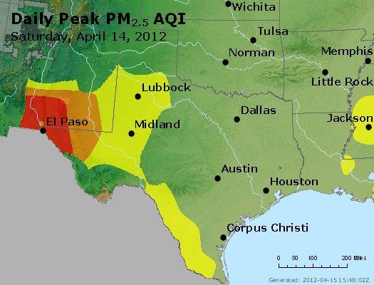 Peak Particles PM<sub>2.5</sub> (24-hour) - http://files.airnowtech.org/airnow/2012/20120414/peak_pm25_tx_ok.jpg