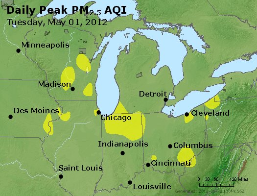Peak Particles PM<sub>2.5</sub> (24-hour) - http://files.airnowtech.org/airnow/2012/20120501/peak_pm25_mi_in_oh.jpg