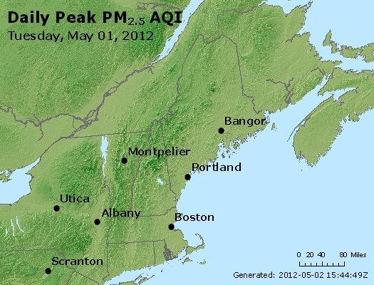 Peak Particles PM<sub>2.5</sub> (24-hour) - http://files.airnowtech.org/airnow/2012/20120501/peak_pm25_vt_nh_ma_ct_ri_me.jpg