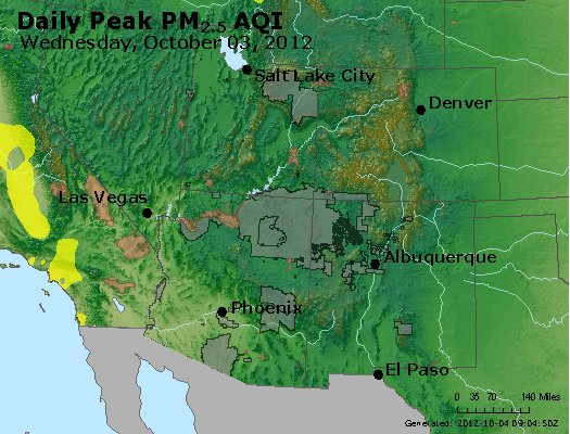 Peak Particles PM<sub>2.5</sub> (24-hour) - http://files.airnowtech.org/airnow/2012/20121003/peak_pm25_co_ut_az_nm.jpg