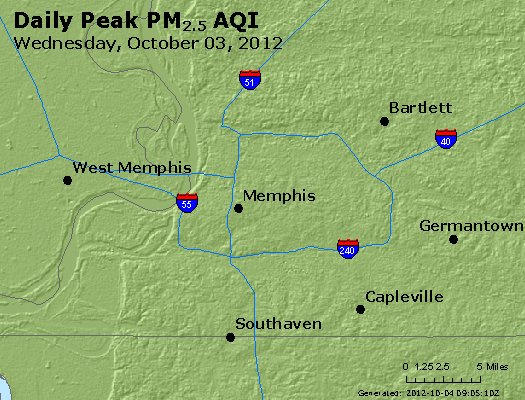 Peak Particles PM<sub>2.5</sub> (24-hour) - http://files.airnowtech.org/airnow/2012/20121003/peak_pm25_memphis_tn.jpg