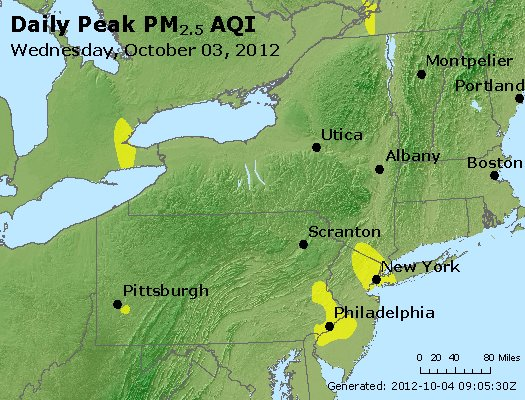 Peak Particles PM<sub>2.5</sub> (24-hour) - http://files.airnowtech.org/airnow/2012/20121003/peak_pm25_ny_pa_nj.jpg