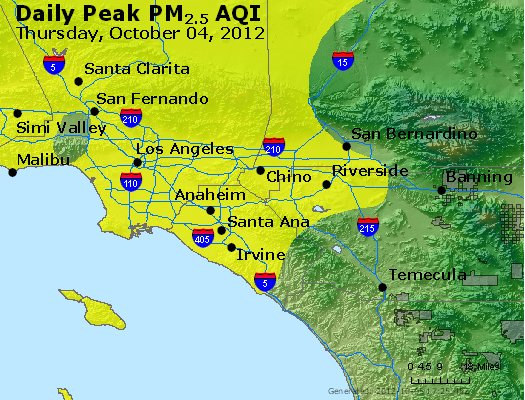 Peak Particles PM<sub>2.5</sub> (24-hour) - http://files.airnowtech.org/airnow/2012/20121004/peak_pm25_losangeles_ca.jpg