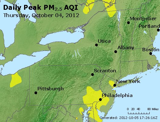 Peak Particles PM<sub>2.5</sub> (24-hour) - http://files.airnowtech.org/airnow/2012/20121004/peak_pm25_ny_pa_nj.jpg