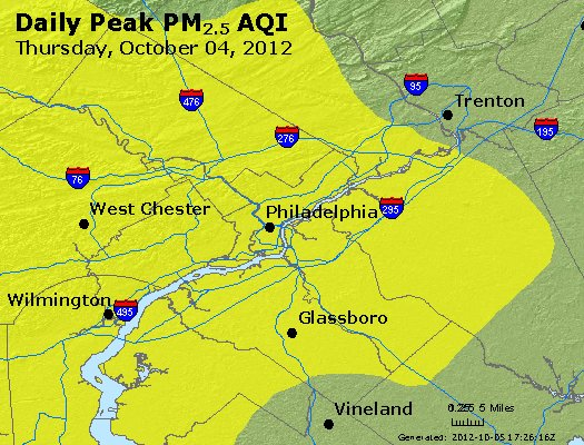 Peak Particles PM<sub>2.5</sub> (24-hour) - http://files.airnowtech.org/airnow/2012/20121004/peak_pm25_philadelphia_pa.jpg