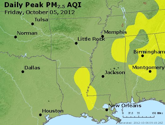 Peak Particles PM<sub>2.5</sub> (24-hour) - http://files.airnowtech.org/airnow/2012/20121005/peak_pm25_ar_la_ms.jpg