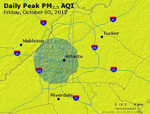 Peak Particles PM<sub>2.5</sub> (24-hour) - http://files.airnowtech.org/airnow/2012/20121005/peak_pm25_atlanta_ga.jpg