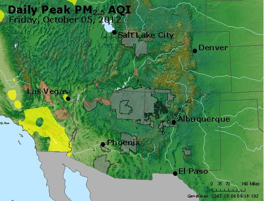 Peak Particles PM<sub>2.5</sub> (24-hour) - http://files.airnowtech.org/airnow/2012/20121005/peak_pm25_co_ut_az_nm.jpg