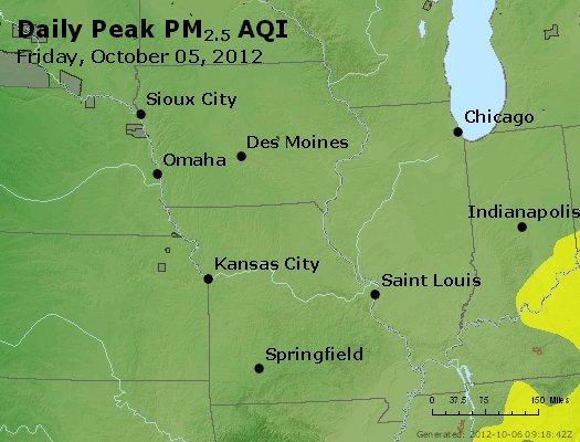 Peak Particles PM<sub>2.5</sub> (24-hour) - http://files.airnowtech.org/airnow/2012/20121005/peak_pm25_ia_il_mo.jpg
