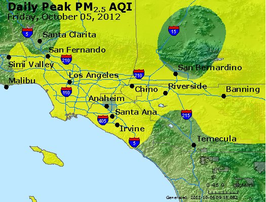 Peak Particles PM<sub>2.5</sub> (24-hour) - http://files.airnowtech.org/airnow/2012/20121005/peak_pm25_losangeles_ca.jpg