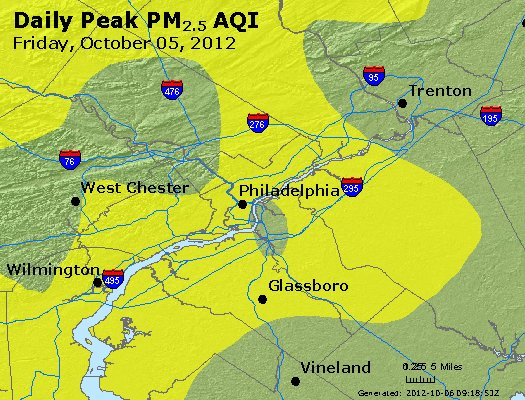 Peak Particles PM<sub>2.5</sub> (24-hour) - http://files.airnowtech.org/airnow/2012/20121005/peak_pm25_philadelphia_pa.jpg