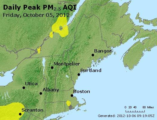 Peak Particles PM<sub>2.5</sub> (24-hour) - http://files.airnowtech.org/airnow/2012/20121005/peak_pm25_vt_nh_ma_ct_ri_me.jpg