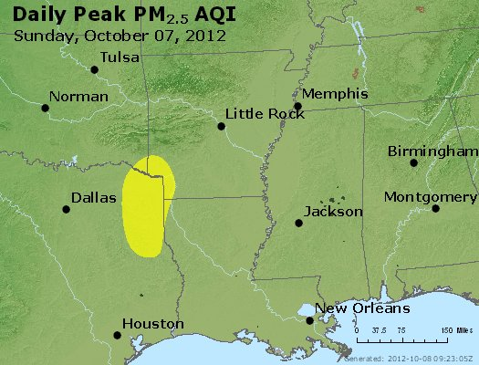Peak Particles PM<sub>2.5</sub> (24-hour) - http://files.airnowtech.org/airnow/2012/20121007/peak_pm25_ar_la_ms.jpg