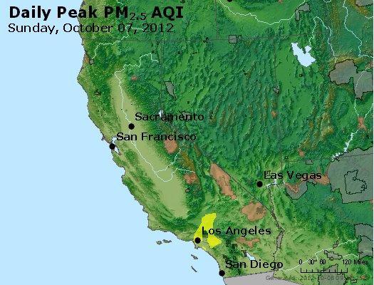 Peak Particles PM<sub>2.5</sub> (24-hour) - http://files.airnowtech.org/airnow/2012/20121007/peak_pm25_ca_nv.jpg