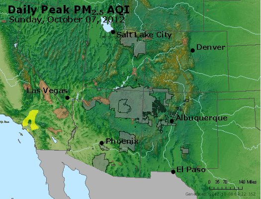 Peak Particles PM<sub>2.5</sub> (24-hour) - http://files.airnowtech.org/airnow/2012/20121007/peak_pm25_co_ut_az_nm.jpg