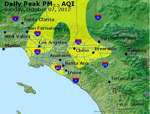 Peak Particles PM<sub>2.5</sub> (24-hour) - http://files.airnowtech.org/airnow/2012/20121007/peak_pm25_losangeles_ca.jpg