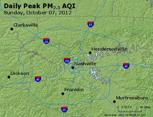 Peak Particles PM<sub>2.5</sub> (24-hour) - http://files.airnowtech.org/airnow/2012/20121007/peak_pm25_nashville_tn.jpg