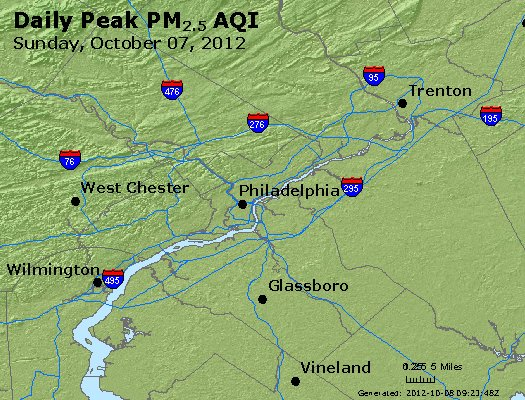 Peak Particles PM<sub>2.5</sub> (24-hour) - http://files.airnowtech.org/airnow/2012/20121007/peak_pm25_philadelphia_pa.jpg