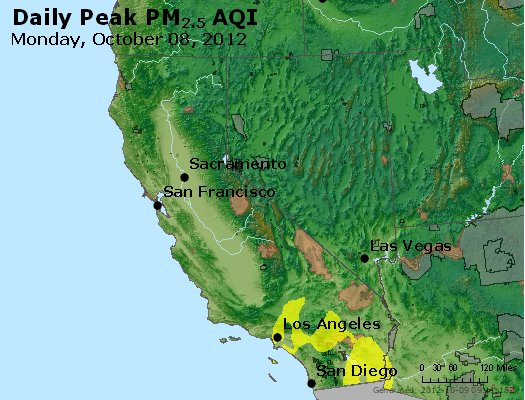 Peak Particles PM<sub>2.5</sub> (24-hour) - http://files.airnowtech.org/airnow/2012/20121008/peak_pm25_ca_nv.jpg