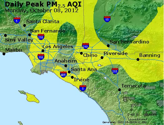 Peak Particles PM<sub>2.5</sub> (24-hour) - http://files.airnowtech.org/airnow/2012/20121008/peak_pm25_losangeles_ca.jpg
