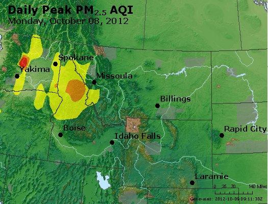 Peak Particles PM<sub>2.5</sub> (24-hour) - http://files.airnowtech.org/airnow/2012/20121008/peak_pm25_mt_id_wy.jpg