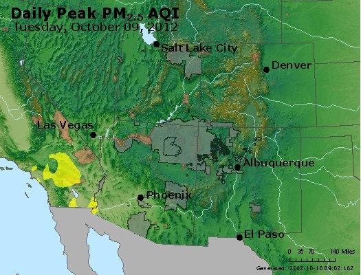 Peak Particles PM<sub>2.5</sub> (24-hour) - http://files.airnowtech.org/airnow/2012/20121009/peak_pm25_co_ut_az_nm.jpg