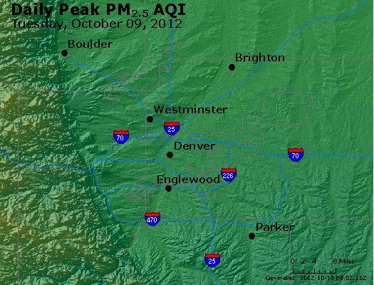 Peak Particles PM<sub>2.5</sub> (24-hour) - http://files.airnowtech.org/airnow/2012/20121009/peak_pm25_denver_co.jpg
