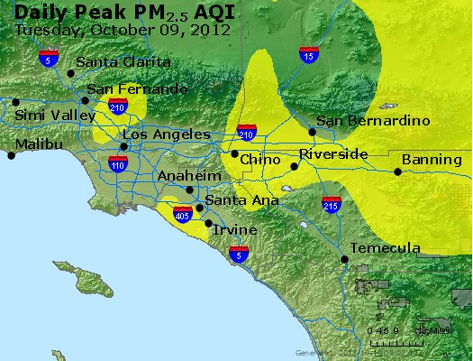 Peak Particles PM<sub>2.5</sub> (24-hour) - http://files.airnowtech.org/airnow/2012/20121009/peak_pm25_losangeles_ca.jpg