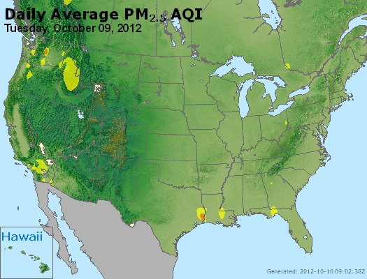 Peak Particles PM<sub>2.5</sub> (24-hour) - http://files.airnowtech.org/airnow/2012/20121009/peak_pm25_usa.jpg