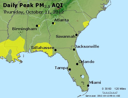 Peak Particles PM<sub>2.5</sub> (24-hour) - http://files.airnowtech.org/airnow/2012/20121011/peak_pm25_al_ga_fl.jpg