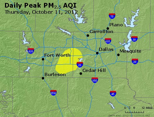 Peak Particles PM<sub>2.5</sub> (24-hour) - http://files.airnowtech.org/airnow/2012/20121011/peak_pm25_dallas_tx.jpg