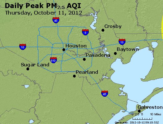 Peak Particles PM<sub>2.5</sub> (24-hour) - http://files.airnowtech.org/airnow/2012/20121011/peak_pm25_houston_tx.jpg