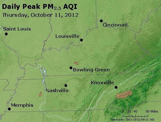 Peak Particles PM<sub>2.5</sub> (24-hour) - http://files.airnowtech.org/airnow/2012/20121011/peak_pm25_ky_tn.jpg