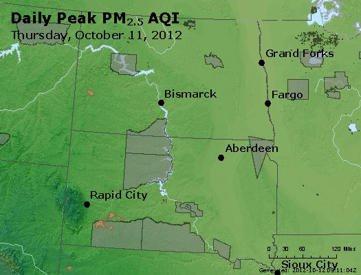 Peak Particles PM<sub>2.5</sub> (24-hour) - http://files.airnowtech.org/airnow/2012/20121011/peak_pm25_nd_sd.jpg