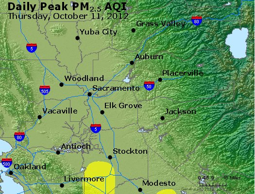 Peak Particles PM<sub>2.5</sub> (24-hour) - http://files.airnowtech.org/airnow/2012/20121011/peak_pm25_sacramento_ca.jpg
