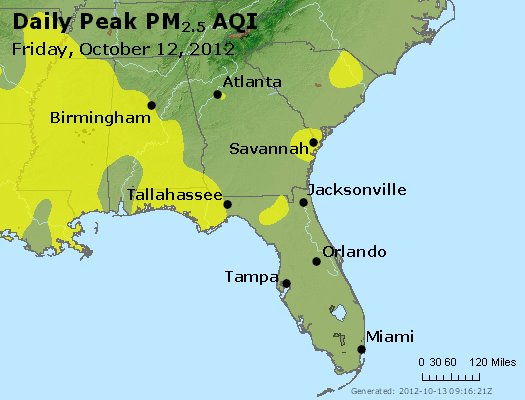 Peak Particles PM<sub>2.5</sub> (24-hour) - http://files.airnowtech.org/airnow/2012/20121012/peak_pm25_al_ga_fl.jpg