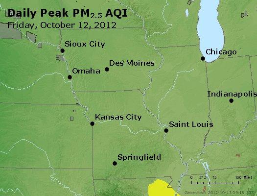 Peak Particles PM<sub>2.5</sub> (24-hour) - http://files.airnowtech.org/airnow/2012/20121012/peak_pm25_ia_il_mo.jpg