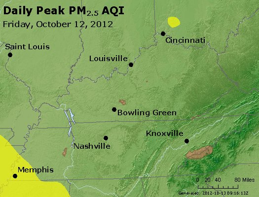 Peak Particles PM<sub>2.5</sub> (24-hour) - http://files.airnowtech.org/airnow/2012/20121012/peak_pm25_ky_tn.jpg
