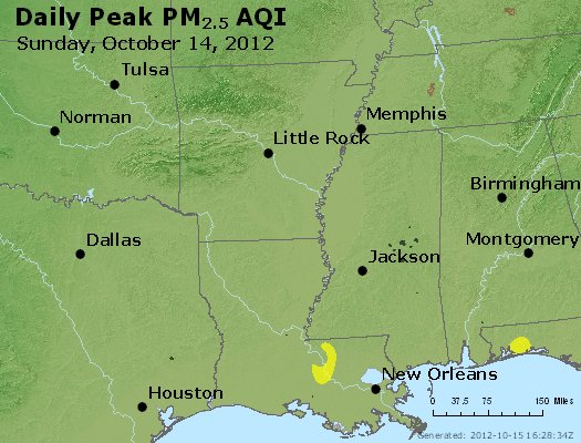 Peak Particles PM<sub>2.5</sub> (24-hour) - http://files.airnowtech.org/airnow/2012/20121014/peak_pm25_ar_la_ms.jpg