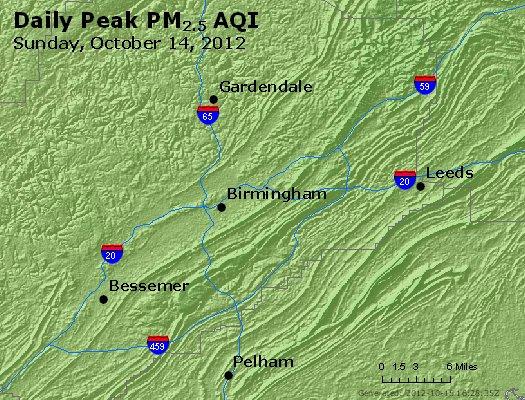 Peak Particles PM<sub>2.5</sub> (24-hour) - http://files.airnowtech.org/airnow/2012/20121014/peak_pm25_birmingham_al.jpg