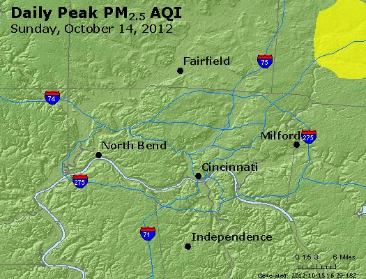 Peak Particles PM<sub>2.5</sub> (24-hour) - http://files.airnowtech.org/airnow/2012/20121014/peak_pm25_cincinnati_oh.jpg