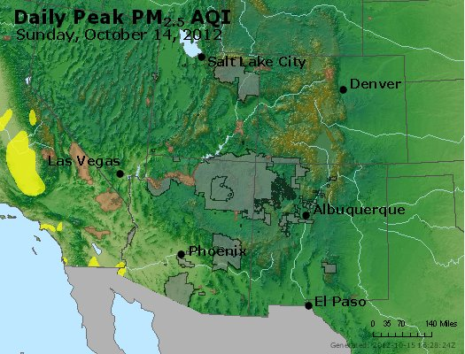 Peak Particles PM<sub>2.5</sub> (24-hour) - http://files.airnowtech.org/airnow/2012/20121014/peak_pm25_co_ut_az_nm.jpg