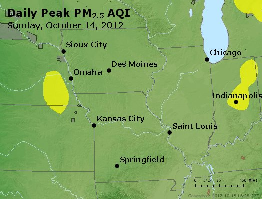 Peak Particles PM<sub>2.5</sub> (24-hour) - http://files.airnowtech.org/airnow/2012/20121014/peak_pm25_ia_il_mo.jpg