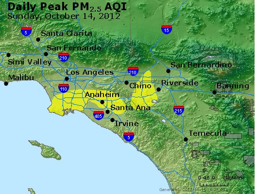 Peak Particles PM<sub>2.5</sub> (24-hour) - http://files.airnowtech.org/airnow/2012/20121014/peak_pm25_losangeles_ca.jpg