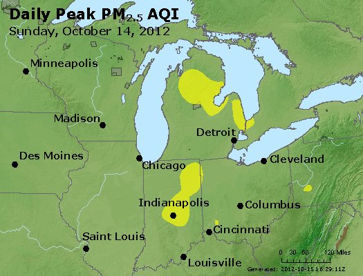 Peak Particles PM<sub>2.5</sub> (24-hour) - http://files.airnowtech.org/airnow/2012/20121014/peak_pm25_mi_in_oh.jpg